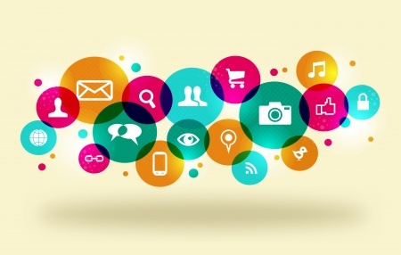 Colorful online icons - content marketing, visual content marketing, YouTube