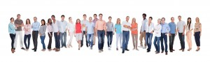 Group of diverse people against white background