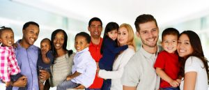 38309393 - group of different families together of all races